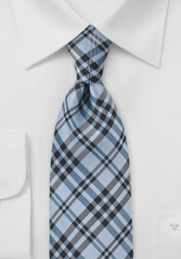 Chic Plaid Necktie in Cool Blues