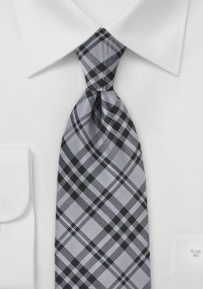 Modern Grey and Black Plaid Patterned Tie