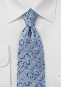 Embroidered Floral Tie in Vintage Blue