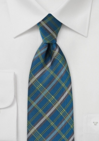 Tailored Plaid Tie in Peacock