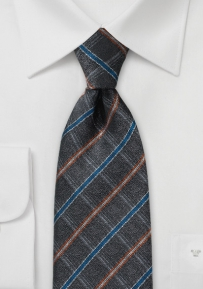 Gray, Orange, and Blue Tie with a Faded Look