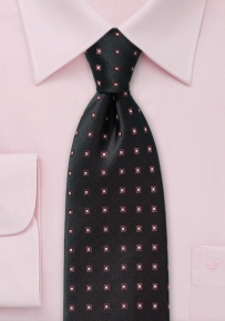 Silk Patterned Tie in Formal Black