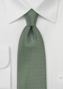 Olive Tie in Silk with Woven Dots