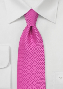 Fuchsia Tie in Silk with Woven Dots