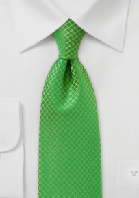 Punchy Patterned XL Length Tie in Bright Kelly Green