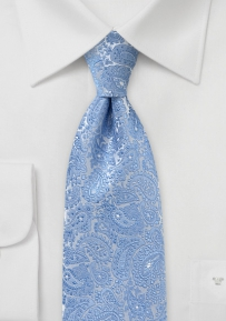 Metallic Paisley Tie in Blues and Silvers