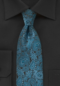 Elegant Teal Colored Paisley Designer Tie