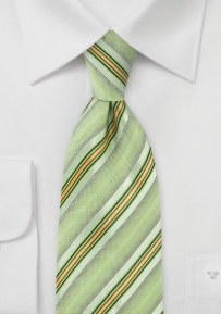 Pure Silk Key Lime Tie with Intricate Detail