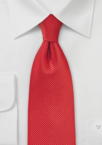 XL Length Textured Silk Tie in Bold Red