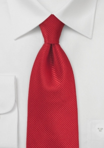 Red Pure Silk Tie with Basket Weave