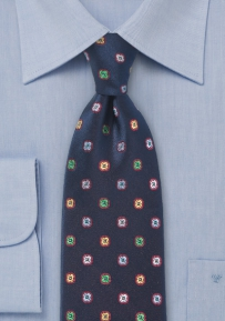 Pure Silk Dark Navy Neck Tie with Flowers