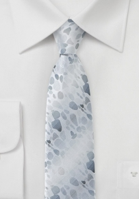 Trendy Skinny Tie in Grays and Silver