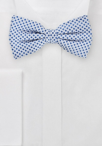 Pre Tied Square Patterned Bow Tie in Silver