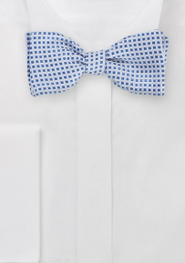 Self Tie Bow Tie in Silver and Blue
