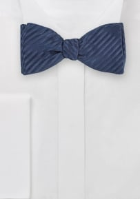 100% Silk Bowtie in Rich and Deep Navy Color with Narrow Stripes
