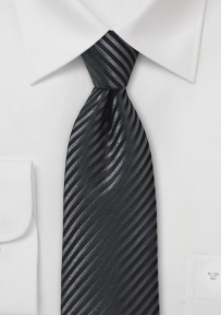 Striped Onyx Necktie with Detailed Jacuard Weave