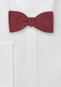 Rich Crimson Striped Self-Tied Bowtie
