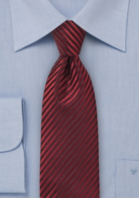 Striking Tie in Striped Cranberry Made from 100% Silk