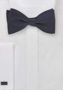 Self Tie Navy Blue Bow Tie with Coral Pin Dots