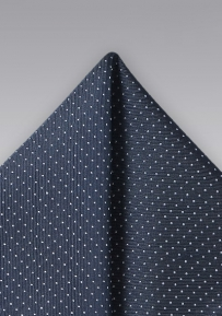 Micro Dot Pocket Square in Dark Navy and Silver