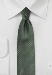 Skinny Silk Tie in Hunter Green and Bright Yellow