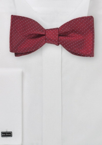 Pin Dot Bow Tie in Cranberry Red and Light Blue