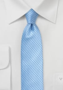 Light Blue Skinny Silk Tie with Dark Navy Pin Dots