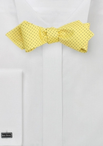 Golden Yellow Pointed Bow Tie with Micro Dots