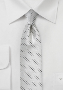 Skinny Pin Dot Tie in Silver and Black