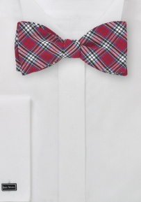 Tartan Plaid Bow Tie in Red