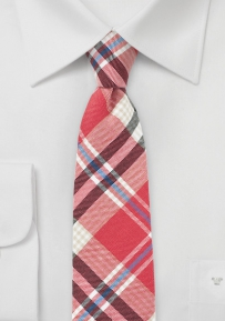 Narrow Plaid Cotton Tie in Red