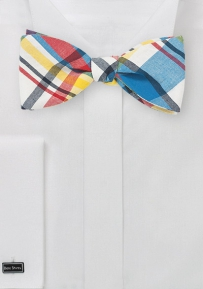 Bold Madras Bow Tie in Self Tie Style