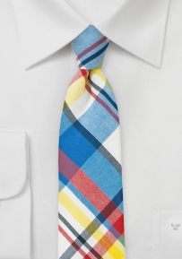 Bright and Fun Madras Skinny Tie