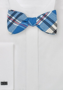 Summer Cotton Bow Tie with Blue Madras Plaid
