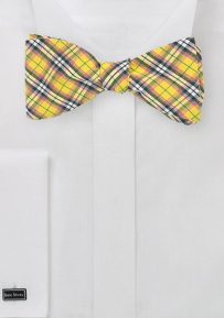 Summer Cotton Bow Tie with Pink and Yellow Micro Plaid