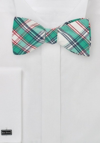 Self Tie Cotton Bow Tie in Green and Cream