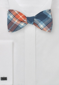 Madras Cotton Bow Tie in Tangerine and Navy