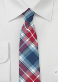Trendy Narrow Cotton Tie in Red, White, and Navy