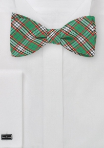 Green, Red, and Blue Tartan Plaid Bow Tie