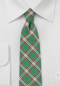 Green and Red Skinny Cotton Necktie