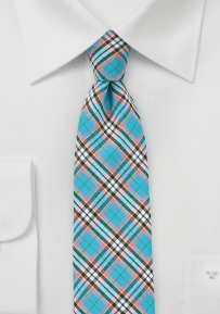 Aqua and Pink Cotton Plaid Tie