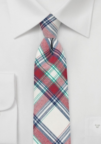 Trendy Cotton Madras Tie in Red and Cream