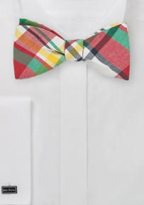 Colorful Madras Bow Tie Made in Self Tie Style