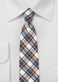 Cotton Skinny Tie with Plaid Check in Beige, Brown, and Blue
