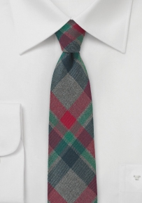 Skinny Winter Flannel Tie in Charcoal, Red, Green