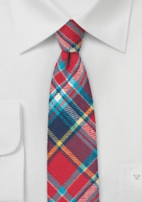 Trendy Flannel Plaid Tie in Reds and Blue