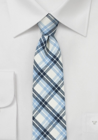 Summer Plaid Cotton Tie in Navy, Light Blue, and Linen White