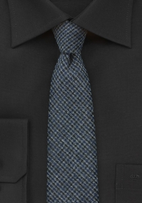 Houndstooth Check Tweed Tie in Midnight Blue