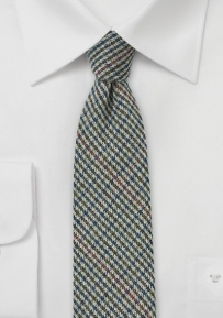 Gray Winter Tweed Skinny Tie with Houndstooth Check