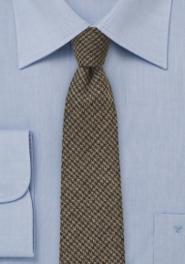 Wool Tweed Tie in Brown with Houndstooth Check